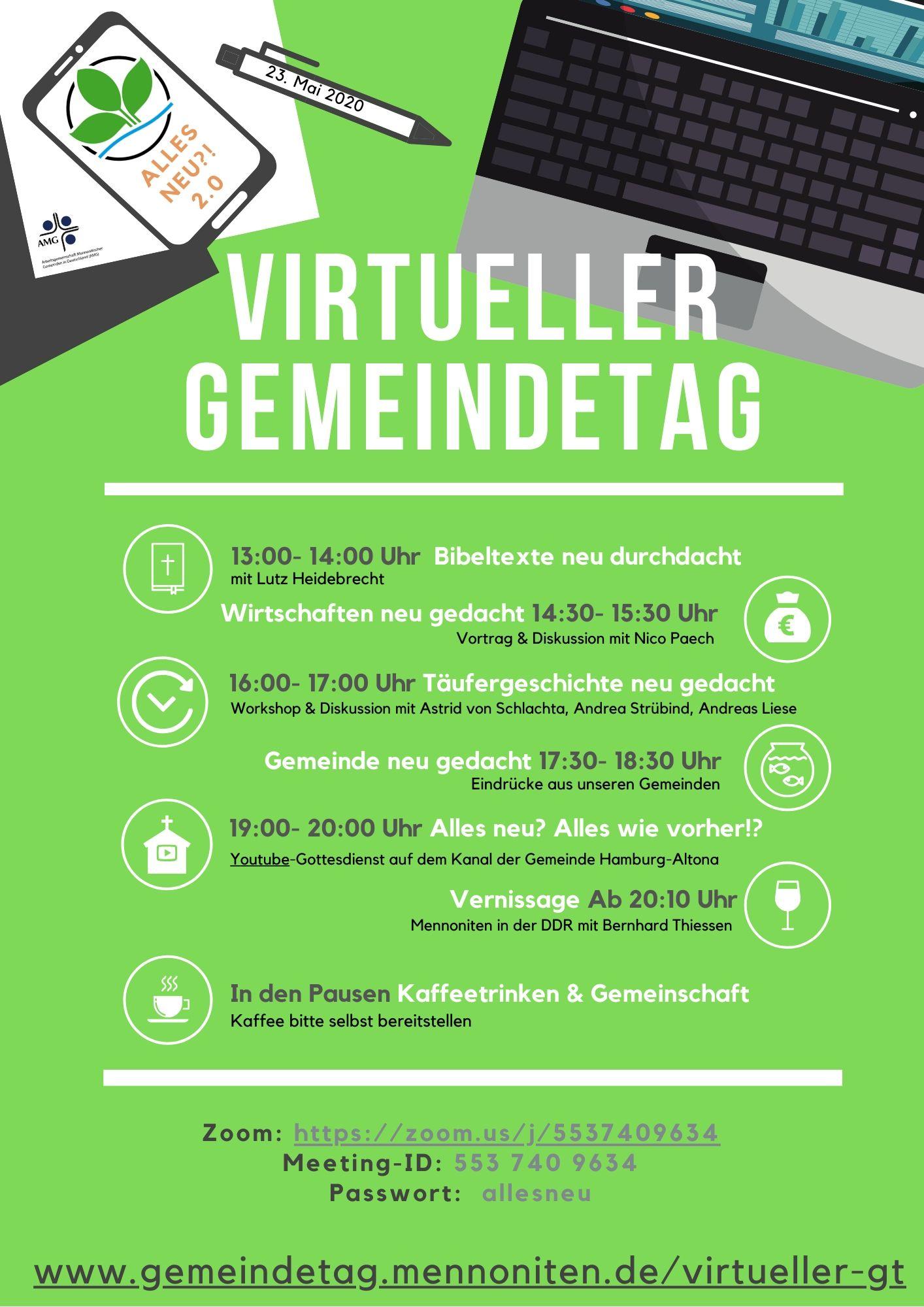 Programm des Virtuellen Gemeindetags am 23.05.2020